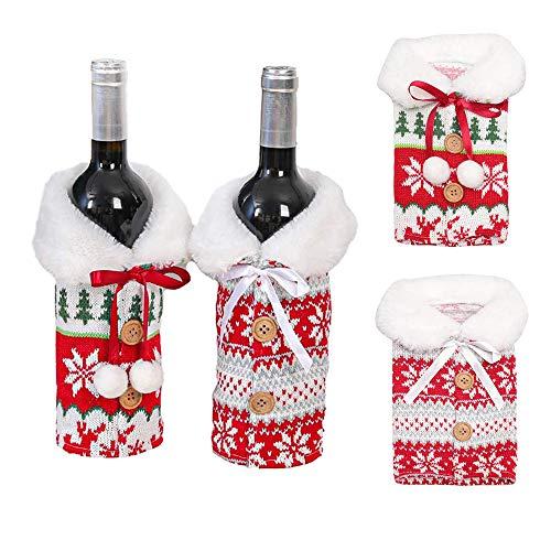 YOUYIKE Weinflasche Flaschenanzug,2 Stücke Weinflaschenbezug,Weinflasche Abdeckung Taschen,Weinflaschenbezug für Weihnachten,Tischdekoration (ZZ-2)