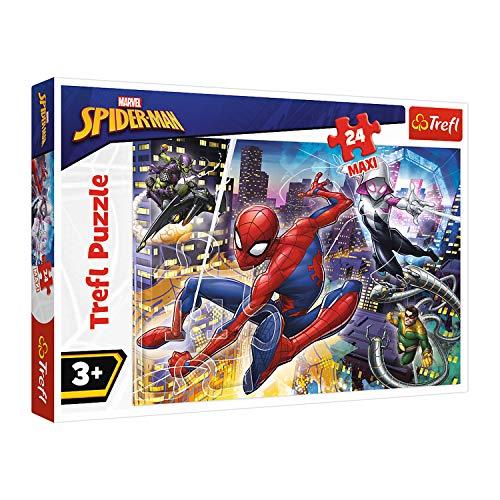 Trefl, Puzzle, Unerschrockener Spiderman, 24 Maxiteile, Disney Marvel, für Kinder ab 3 Jahren