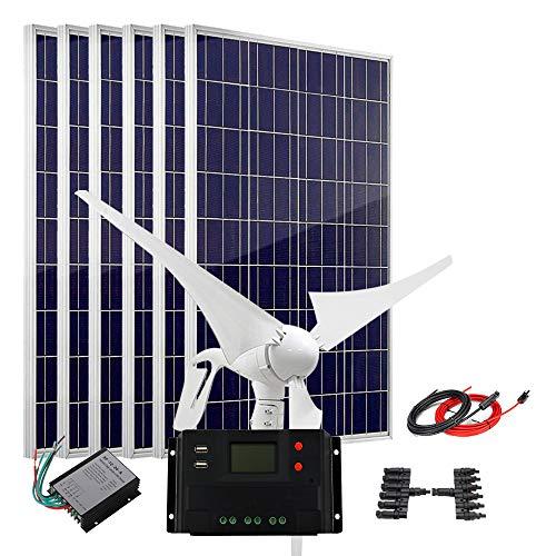 Solar Wind Kit Hybrid System polykristalline Solarmodule & 400W Windturbine Generator, for 12V Battery, 1000 W (400 W Wind + 600 W Solar).