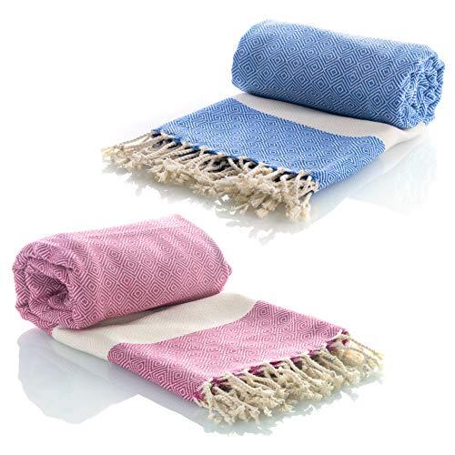 Juego de 2 toallas de hammam Turcas Pestemal 100% algodón de secado rápido, para el Baño, el Gimnasio y la Playa, 100*200cm, 435 gr. Compacta fouta para viajar, Spa, Picnic, Manta (Azul/Rosado)