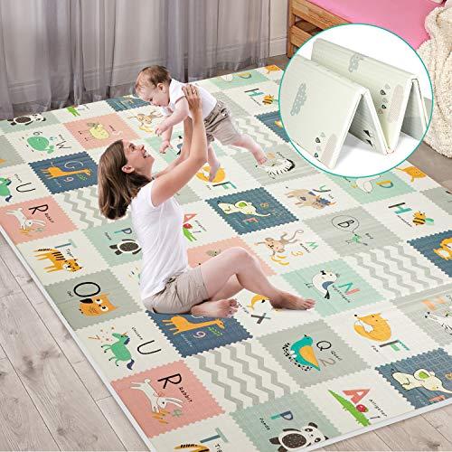 FLAGAV Baby Play Mat Extra Large Folding Baby Crawling Mat Waterproof Reversible Playmat Foam Non Toxic AntiSlip Portable Kids Play Mat for Infant Toddler Yellow Packaging