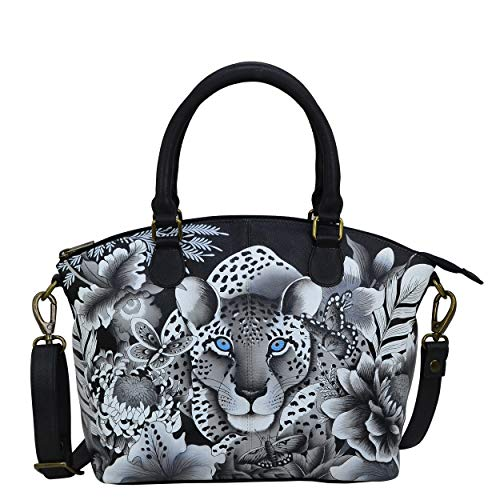 Anuschka Hand-Painted Leather Medium Convertible Satchel - Top Handle Shoulder Bag/Purse - Cleopatra's Leopard -  484-CLP