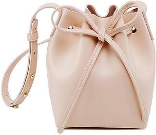 Cxhsz New Bucket Bag Shoulder Slung Microfiber Leather Handbag Casual Fashion (Color : Beige)
