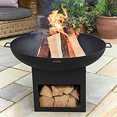Harrier Black Outdoor Fire Pits - 30in | Built-In Log Storage | Black Fire Pits For Garden + Patio | Outdoor Heater - Premium Garden Furniture | Steel Fire Pit Bowls from Net World Sports