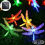 Dragonfly Solar String Lights, 30LED 21ft 8 Modes Outdoor Waterproof Crystal Dragonfly Fairy Lighting for Christmas Trees, Garden, Patio, Fence, Wedding, Party and Holiday Decorations - Multi Color