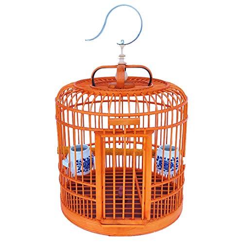 KHUY Jaula de pájaros de Estilo Chino Jaula de Vuelo de Aves pequeña Mejora el Portador de Aves de bambú, Jaula de Aves al Aire Libre Jaula de cría de Aves Posada, Loro/pájaro/Ave