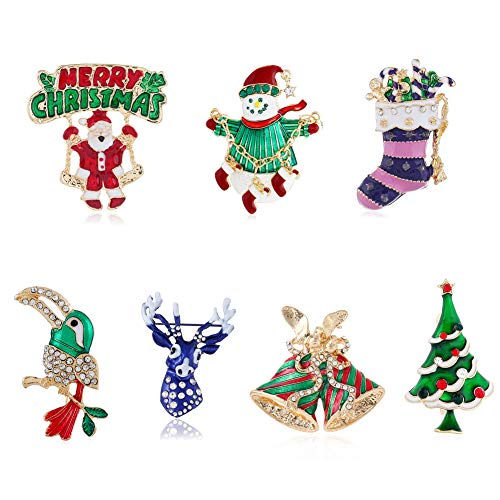 Apol Set 7 Pcs Christmas Themed Large Brooch Pins Rhinestone Jewelry Santa Claus Snowman Jingle Bell Christmas Tree Stockings Bird Reindeer Enamel Ornaments Lapel Pin for Christmas Decoration Gift