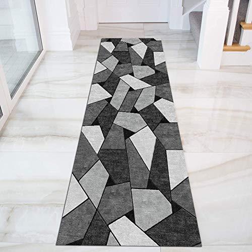 SESOUK Tappeto Passatoia, Geometrico Moderno Corridoio Salotto Tappetini Antiscivolo per Esterno, Interno, Cucina, Cortile(Color:Un,Size:60X400CM)