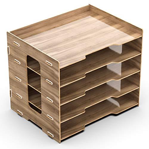 Lesfit Ablagefächer Holz Dokumentenablage Briefablage Papierablage, Büro Ablagesystem, A4 Papier Organizer für Bürotisch Schreibtisch