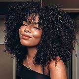 Afro Kinky Curly Human Hair Wig 2X3 U Part Wigs for Black Women,MSGEM Short Kinky Curly Human Hair Glueless Machine Made Wigs 10 inch U Shape Wig