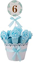Decorative Candy Box Wedding Party Favor Gift Box, Light Blue Box + Light Blue Flower
