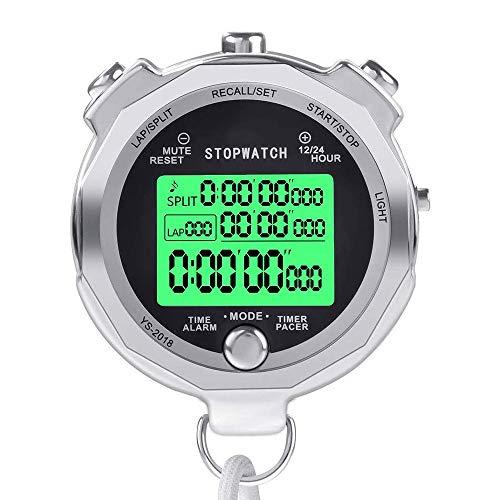 WHCL Cronómetro de Deportes, Temporizador de Relojes de Parada de Metal para Sport, 100/200 Lap Memory Coach Temporizador Deportivo con Cuenta Regresiva y retroiluminado, para competiciones,200