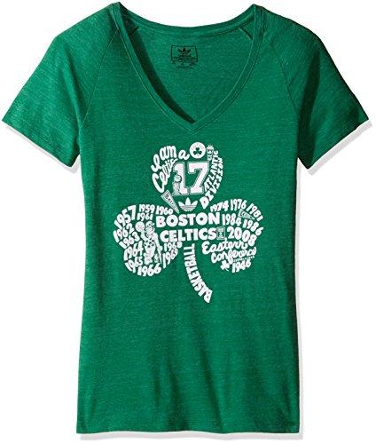adidas Clover Tradition - Maglietta da Donna con Scollo a V, Donna, Clover Tradition - Maglietta con Scollo a V, B366W, Verde, XL
