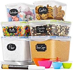 Chefs Path Food Storage Containers - Flour Container - Great for Sugar, Baking Supplies - Airtight Kitchen & Pantry Bulk Food Canisters- BPA-Free - 6 PC Set - 8 Labels & Pen
