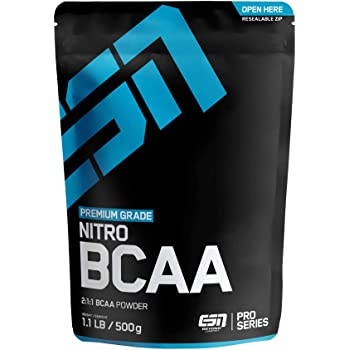 ESN BCAA Nitro Powder – 500 g – Peach Iced-Tea – 38 Portionen – L-Leucin, L-Valin, L-Isoleucin ( Branched-Chain Amino Acids = BCAAs ) im bioidentischen Verhältnis 2:1:1 – Vegan – Made in Germany