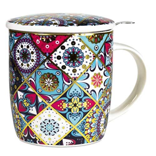 Mug Mandala orientaleConfezione regalo con tazza 400 cc, coperchio e infusore inox - Porcellana Bone China geometrie