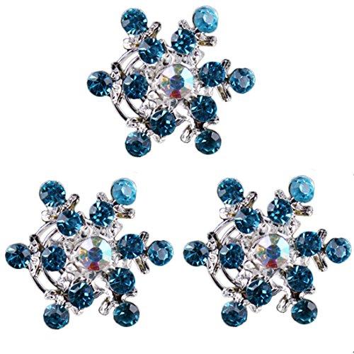 Utsunomiya® Lot de 4 Glamour magnifique Flocons de neige avec glanzende Taille et bleu cristaux strass, bijou cheveux épingles à cheveux haarpin spirales spirales à cheveux, Mariée Mariage Cérémonie