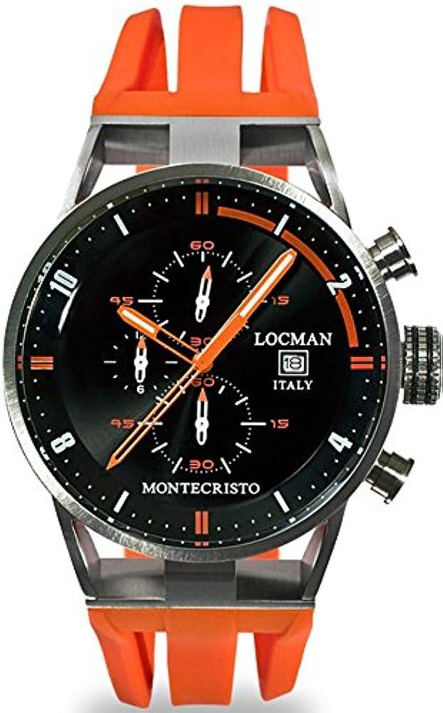 Locman Italia Montechristo, cronografo,  orologio per uomo, in titanio e acciaio, cinturino in silicone 051000BKFOR0GOO
