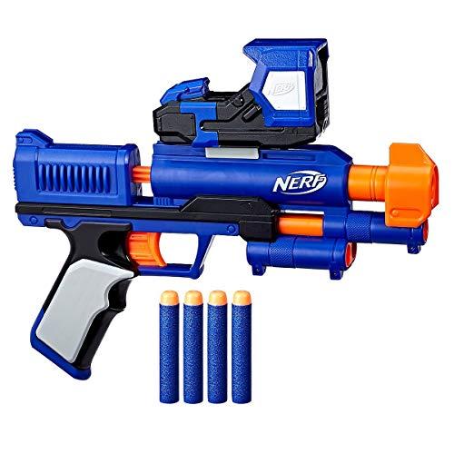 Dardo blaster single shot NERF in classico formato a pistola con 4 freccette Elite Con puntatore rosso: richiede 2 batterie AA da 1,5 V (non incluse) Immagazzinaggio pratico delle freccette sotto la canna - sempre pronto per il carico Adatto per 8 an...
