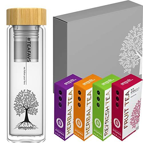 amapodo Tee Geschenkset Angebote - Geschenke für Frauen - Geschenkbox mit Früchtetee, Kräutertee, Teekanne - Teebox Tee Set - Geschenk für Männer