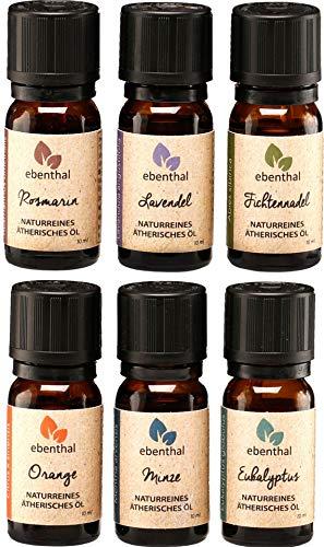 Ätherische Öle Premium EBENTHAL VITAL® • GARANTIERT 100{95e0a421b6e1fce9f027411d2d7f8ace5e5db2289cec82fc3c01aee2bfb0a001} PUR & NATURREIN • IN DEUTSCHLAND ABGEFÜLLT & GEPRÜFT • Duft-Öl-Set zur Aromatherapie oder im Diffuser • 6 x 10ml • NEU VERBESSERTE VERPACKUNG
