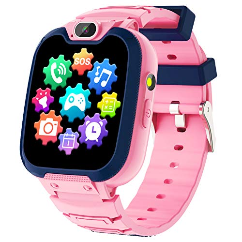 Kids Smart Watch for Boys Girls - Kids Phone Smartwatch with Calls 14 Games S0S Camera Video Music Player Clock Calculator Flashlight Touch Screen Children Smart Watch Gifts for Kids Age 4-12 (Pink)