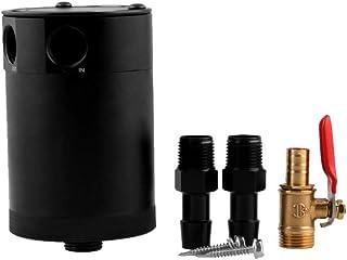 Seinlang ユニバーサルミシモトコンパクトバッフルオイルキャッチ缶、2ポートユニバーサル2穴廃ガスオイル回収ケトル