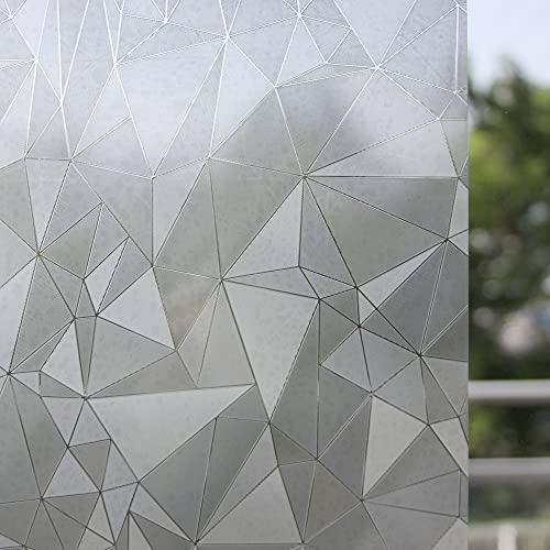 remecle 窓用フィルム めかくしシート ガラスフィルム 窓 【ジオメトリー柄 洒落たモザイク調 90cm x 200cm】 水で貼れる 貼り直し可能 目隠し シート ちょっとしたアクセントに 断熱シート 飛散防止 遮光 UVカット スキージー付 gf9t2m-wphera
