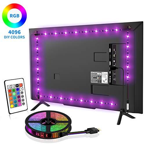LED TV Hintergrundbeleuchtung, SYOSIN 4m USB LED Strip Lichtband RGB Led Beleuchtung Fernseher mit Fernbedienung für 65-75 Zoll HDTV, TV-Bildschirm, LED Streifen.MEHRWEG [Energieklasse A ]