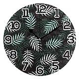 Reloj de Pared Blanco Verde Hojas de Palma Reloj de acrílico Redondo de Verano Negro Números Grandes Negros Reloj silencioso sin tictac Pintura Decorativa Reloj con Pilas para la Biblioteca del Hotel