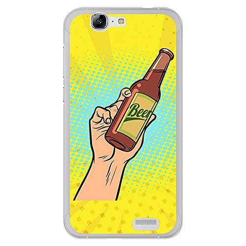 BJJ SHOP Funda Transparente para [ Huawei Ascend G7 ], Carcasa de Silicona Flexible TPU, diseño: Pasion y Amor a la Cerveza