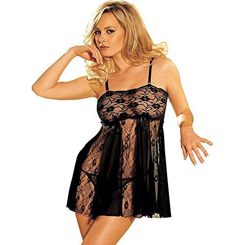 Shirley of Hollywood Nummer 96120Queen Größe schwarz Stretch Spitze und Sheer Net Babydoll