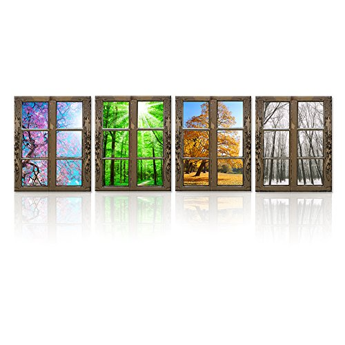 iHAPPYWALL 4 Seasons Modern Landscape Window Frame Style Wall Decor Spring Summer Autumn Winter Season Changes Forest with Sunshine Picture Print On Canvas for Living Room Stretched Ready to Hang