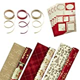 Hallmark Reversible Christmas Wrapping Paper Set with Ribbon and Gift Tag Stickers (Traditional Red...