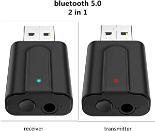 LynDirect USB Bluetooth 5.0 Adapter 2 in 1, USB Bluetooth Receiver/Transmitter, Audio Adapter for Home/Car/Laptop Bluetooth Dongle, AUX-in 3.5 mm Jack, Denoise HiFi Music