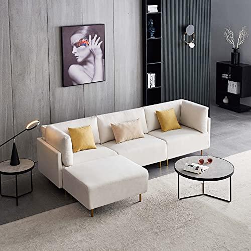 Comfortable Linen Sectional Sofa, L-Shape, 276cm -Beige