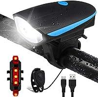 Salandens Luz Bicicleta Recargable USB, Linterna Bicicleta Impermeable con Luz 120 Decibel Bicicleta Campana, Luz LED...