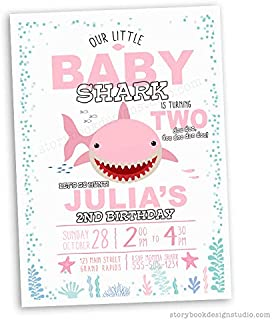 Pink Baby Shark Birthday Party Invitations (Set of 10) Envelopes Included Personalized