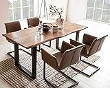 SalesFever Essgruppe Baumkanten-Tisch aus Akazie und Armlehnstühle Gaia Tisch 180x90 cm + 6 hellbraune Stühle, Nussbaum/Schwarz