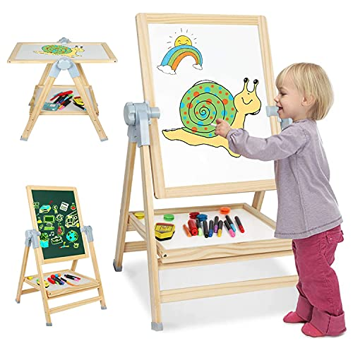 4 in 1 Kids Wooden Art Easel, Adjustable Magnetic Double-sided Whiteboard and Chalkboard, 360 Degree Rotating Drawing Easels with Art Accessories, Gift for Toddlers Children Boys Girls (White)