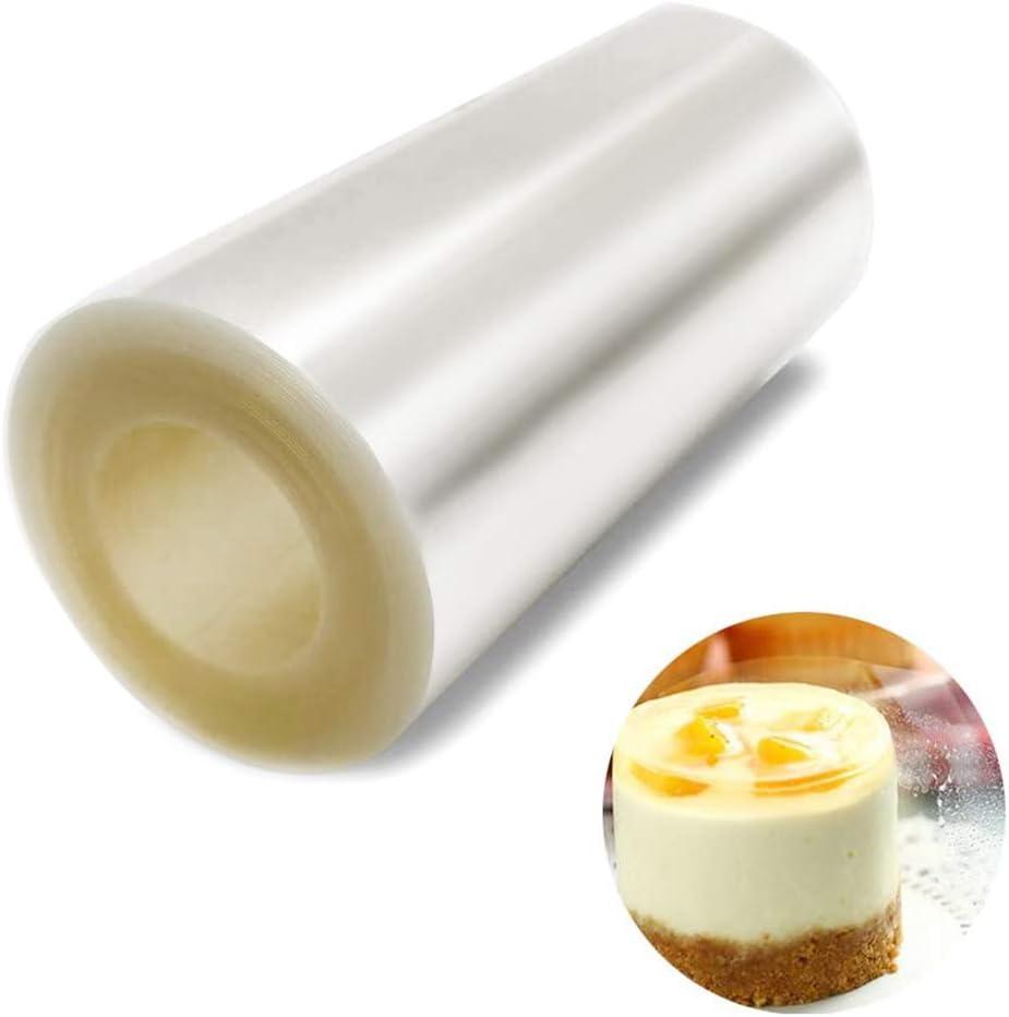 10 Metros * 100 mm Acetato Transparente Pastel para Decoración de Repostería Rollo de Acetato para Pasteleria Chocolate Mousse Varios Postres