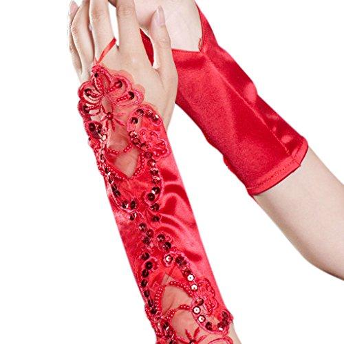 FakeFace Ellenbogen Länge Brauthandschuhe Satin Fingerlos Handschuh mit Spitze und Pailletten Party Abendhandschuhe Frühling Sommer Herbst Winter Rot