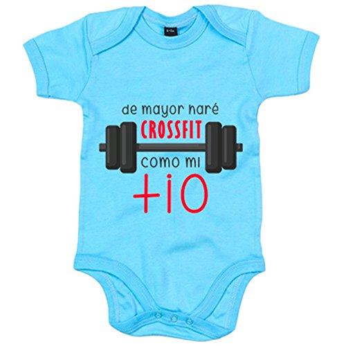Body bebé De mayor haré Crossfit como mi tío - Celeste, 6-12 meses