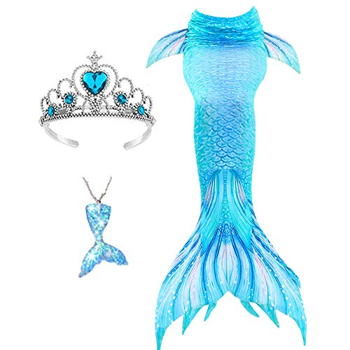 Mermaid Tail Tails Swimmable Costume Swimsuit for Girls Swimming (No Monofin) Sky Blue