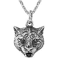 Original Collar Colgante Animales Hombres Acero Inoxidable Tigre Zorro Joyeria para Novio el Dia del Padre Regalo,A