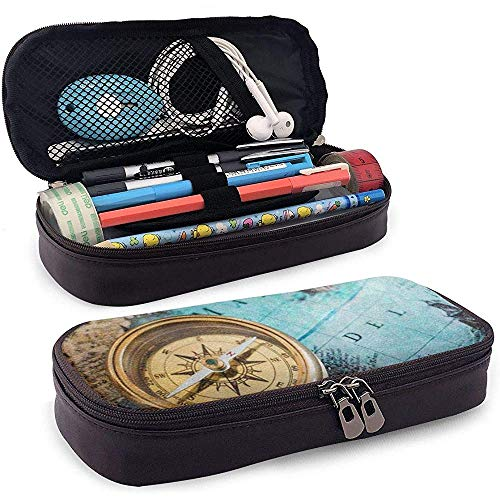 Alter Kompass auf Weltkarte Bleistift Federbeutel Beutel Kasten Halter Schule Büro Geldbörse Kosmetik Make-up Tasche