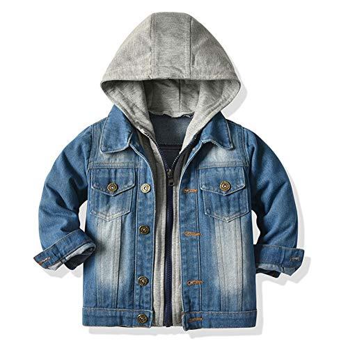 LJENFCI MäDchenJeansjacke Jungen Teenager Kinderjacken mit Kapuze Toddler Jeansmantel Kinder Cool Mantel Kinderkleidung,Blau # 1,134/140