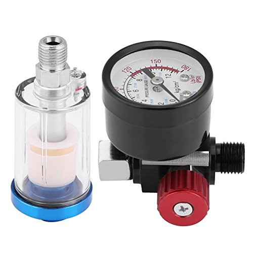 Keenso 1/4 Pneumatische Spritzpistole Luftdruckregler Manometer In-line Öl Wasserabscheider Filter Separator Kit