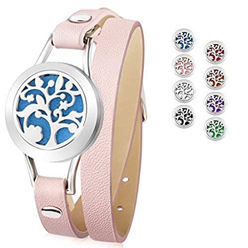 Bracelet de diffusion d'huile essentielle, ceinture en cuir de bracelet en acier inoxydable avec des cadeaux d'anniversaire créatifs pour femmes, amies, mères, soulager la fatigue, Pink