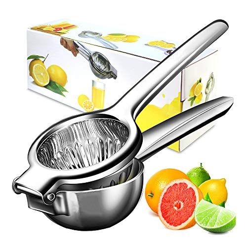 Lemon Squeezer 304 Stainless Steel Manual Citrus Lemon Press, Lime Squeezer Bar Tool with Solid Heavy Duty Metal Squeezer Bowl, Hand Juicer Citrus Squeezer for Oranges Lemons Limes, Easy to Use